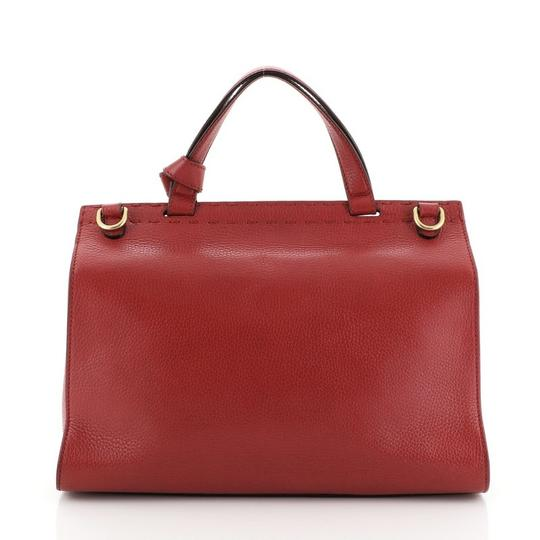 Gucci Handle Leather Satchel in Red Image 2