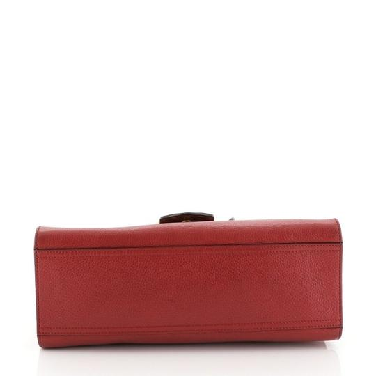 Gucci Handle Leather Satchel in Red Image 3