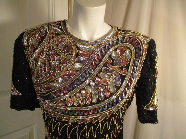 Laurence Kazar Vintage Beaded Sequined Party Oneam003 Dress Image 1