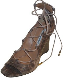 Brian Atwood Leather Heels Pumps Leather Lace Up Pumps Wedges