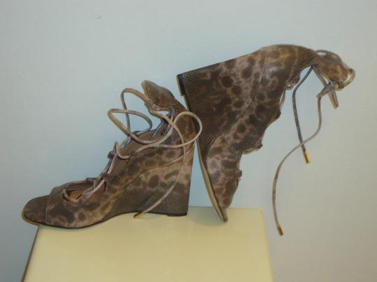 Brian Atwood Leather Heels Pumps Leather Lace Up Pumps Wedges Image 1