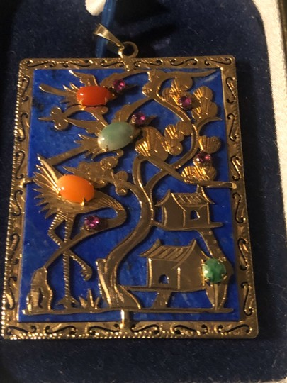14K Yellow Gold Jade Asian Pendant With Multi Color Jade Stones Asian Image 2