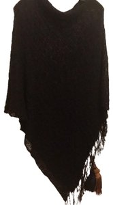 Poncho black Loose Weave wear all the time poncho