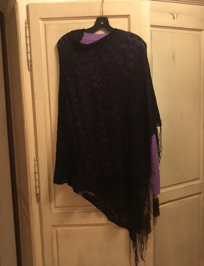 Poncho black Loose Weave wear all the time poncho Image 2