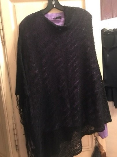 Poncho black Loose Weave wear all the time poncho Image 3