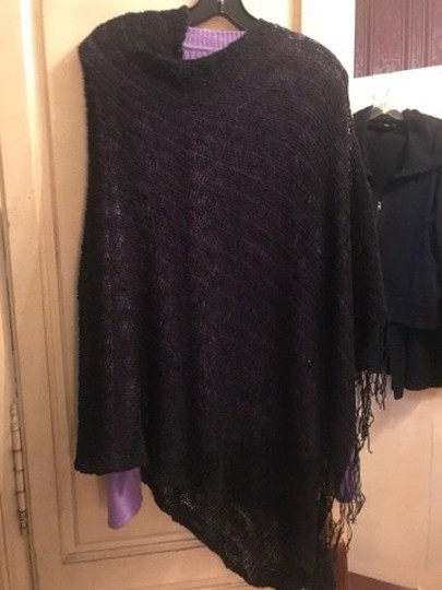 Poncho black Loose Weave wear all the time poncho Image 5