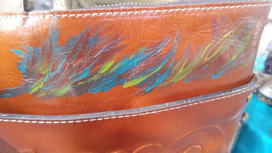 Patricia Nash Designs Hand Painted Tooled Leather Italian Leather Cross Body Bag Image 5
