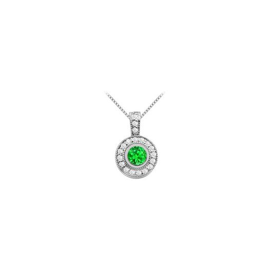 Marco B Created Emerald and Cubic Zirconia Pendant in 14K White Gold Two Carat Image 0
