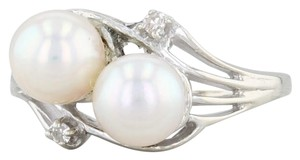 Other Cultured Pearl & Diamond Ring - 14k White Gold Size 6.75 Bypass