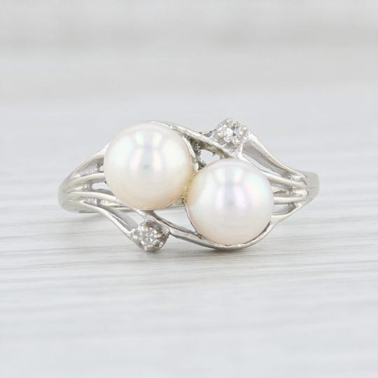 Other Cultured Pearl & Diamond Ring - 14k White Gold Size 6.75 Bypass Image 1