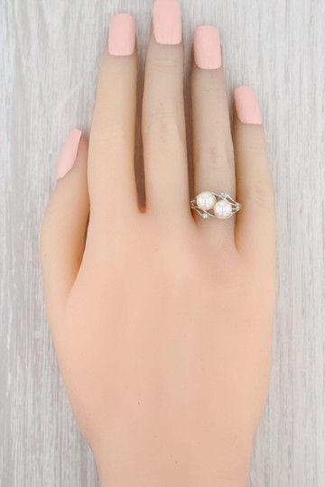 Other Cultured Pearl & Diamond Ring - 14k White Gold Size 6.75 Bypass Image 6