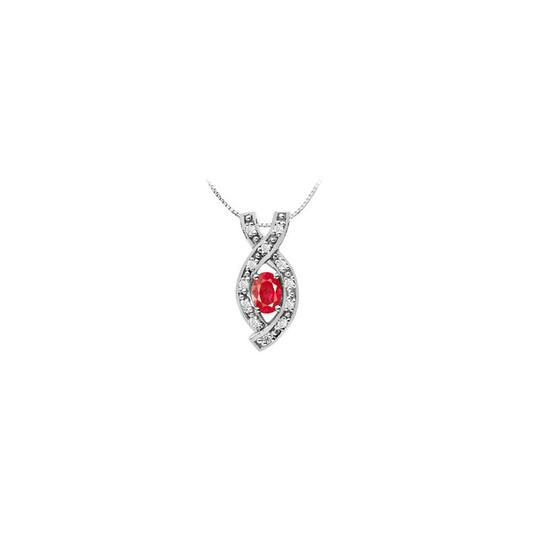 Preload https://img-static.tradesy.com/item/26230175/red-oval-created-ruby-pendant-with-cz-in-14k-white-gold-one-half-carat-necklace-0-0-540-540.jpg