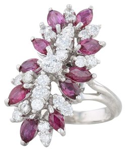 Other 3.65ctw Ruby Diamond Cocktail Ring - 18k Size 6 Gemstone Cluster