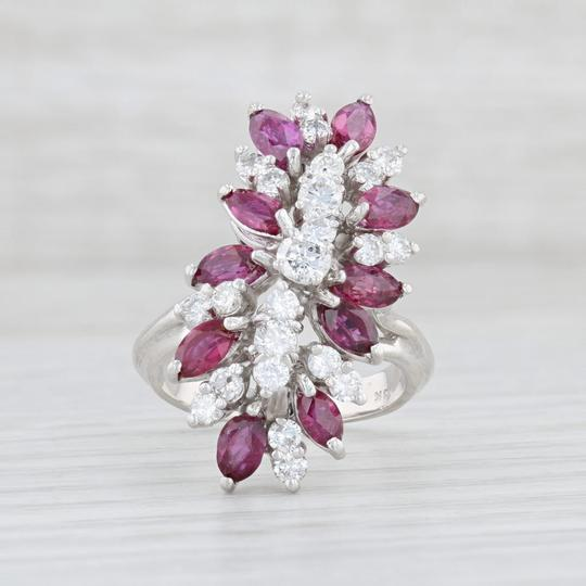 Other 3.65ctw Ruby Diamond Cocktail Ring - 18k Size 6 Gemstone Cluster Image 1