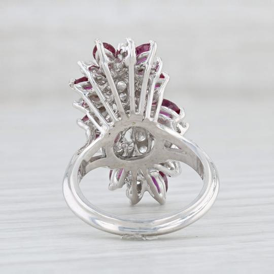Other 3.65ctw Ruby Diamond Cocktail Ring - 18k Size 6 Gemstone Cluster Image 3