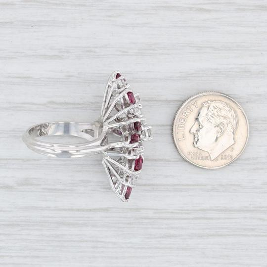 Other 3.65ctw Ruby Diamond Cocktail Ring - 18k Size 6 Gemstone Cluster Image 5