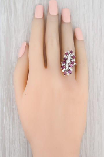 Other 3.65ctw Ruby Diamond Cocktail Ring - 18k Size 6 Gemstone Cluster Image 6