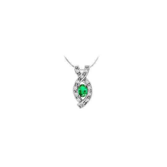 Preload https://img-static.tradesy.com/item/26230188/green-designer-pendant-with-created-emerald-oval-and-round-cz-in-14k-white-necklace-0-0-540-540.jpg