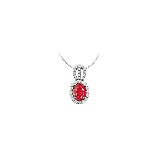 Preload https://img-static.tradesy.com/item/26230202/red-four-carat-created-ruby-oval-and-round-cubic-zirconia-fashion-pendant-necklace-0-0-540-540.jpg