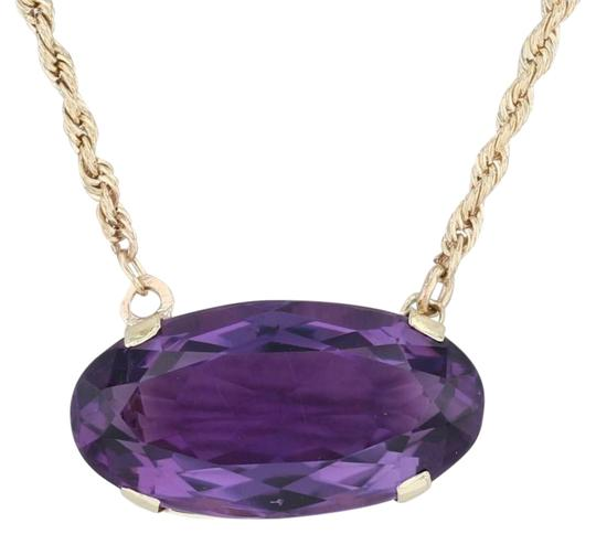 Preload https://img-static.tradesy.com/item/26230209/yellow-gold-133ctw-amethyst-stationary-pendant-14k-17-rope-chain-necklace-0-1-540-540.jpg
