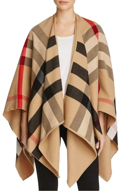 Item - Camel Charlotte Reversible Wool House Check Poncho/Cape Size 10 (M)