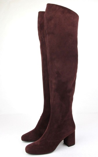 Saint Laurent Suede Bb 70 Over-the-knee Burgundy Boots Image 1