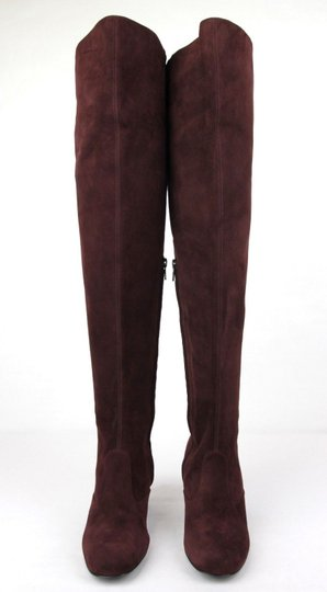Saint Laurent Suede Bb 70 Over-the-knee Burgundy Boots Image 2