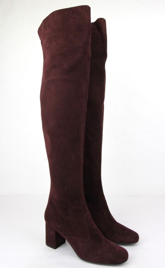 Saint Laurent Suede Bb 70 Over-the-knee Burgundy Boots Image 3