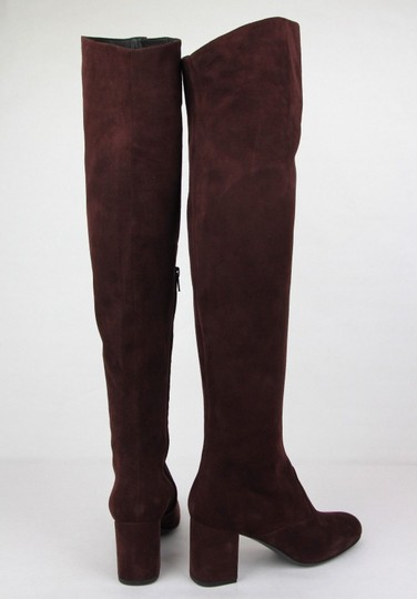 Saint Laurent Suede Bb 70 Over-the-knee Burgundy Boots Image 4