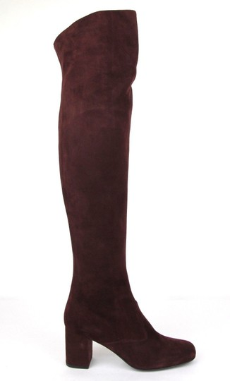 Saint Laurent Suede Bb 70 Over-the-knee Burgundy Boots Image 5