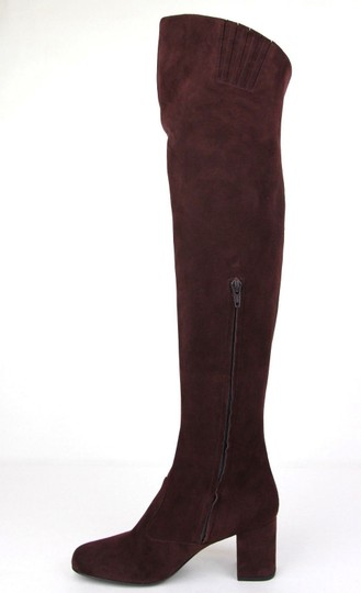 Saint Laurent Suede Bb 70 Over-the-knee Burgundy Boots Image 6
