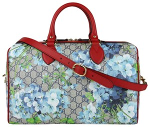 Gucci Beige/Blue Gg Coated Canvas Bloom 409527 8492 Satchel in Beige/Blue