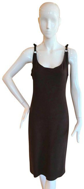 Item - Brown Stapped Mid-length Cocktail Dress Size 12 (L)