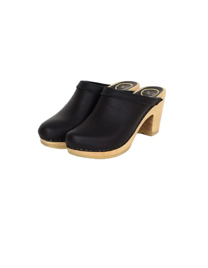 No.6 Leather High Heel Black Mules Image 1