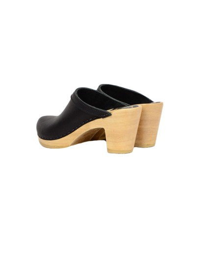 No.6 Leather High Heel Black Mules Image 2