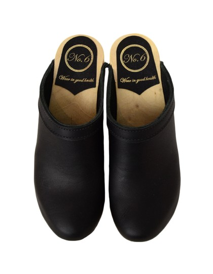 No.6 Leather High Heel Black Mules Image 4
