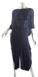 Issey Miyake ISSEY MIYAKE Navy Triacetate Knit Crop Pant Pleated Tunic OUTFIT