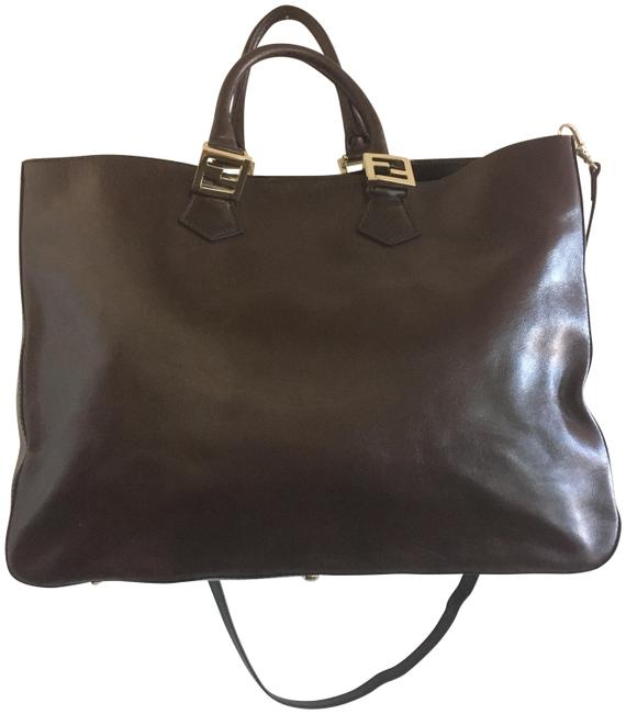 Item - 2 Way Olsen Large Deep Brown Lambskin Leather Tote