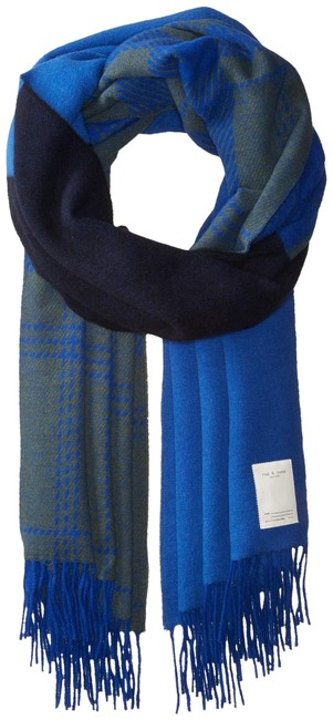 Item - Bright Blue (Nwt) Mixed Pattern Oversized Italian Scarf/Wrap