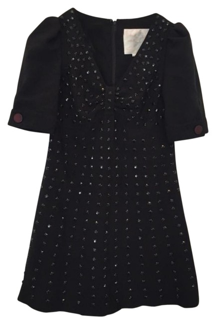 Item - Black Crystal Beaded Mini Bow Holiday Mid-length Cocktail Dress Size 8 (M)