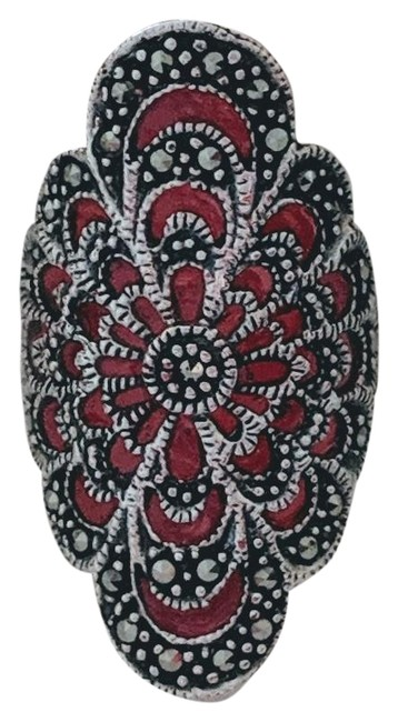 Item - Red Sterling Silver Marcasite Enamel Filigree Ring