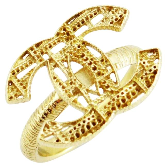 Item - Gold Rare Classic Cc Logo Woven Pattern Size 52 Ring