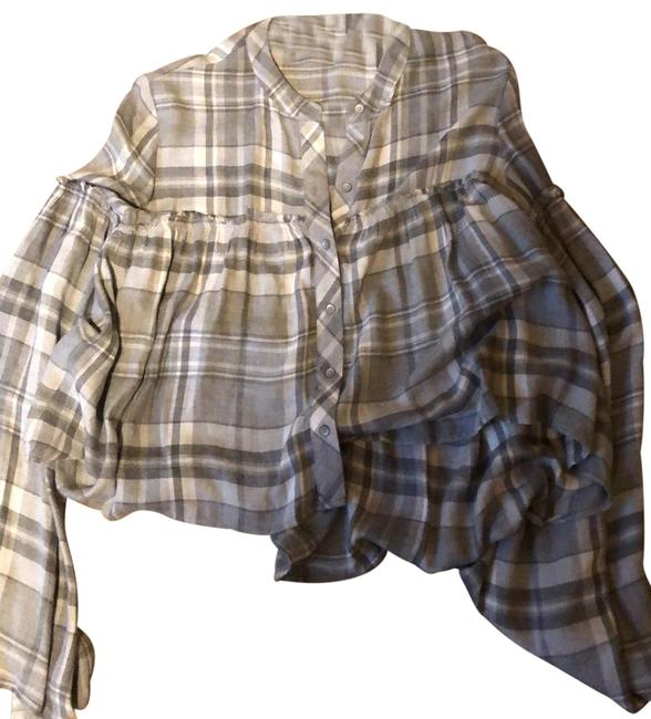 Cloth & Stone Grey/White Flannel Button-down Top Size 8 (M) Cloth & Stone Grey/White Flannel Button-down Top Size 8 (M) Image 1