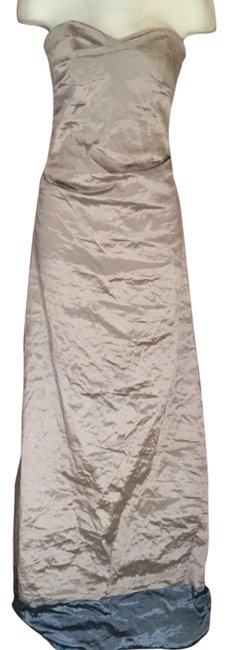 Item - Gold Ruched Techno Sample Long Formal Dress Size 2 (XS)