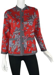 Norm Thompson Reversible Quilted Floral Petite Gray/Red Jacket