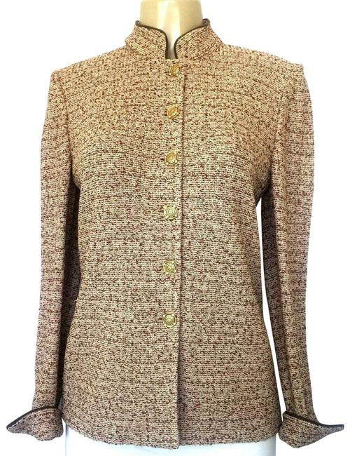 Item - Beige Jacket Tweed Red Gold Button Down Long Sleeve Blazer Size 6 (S)