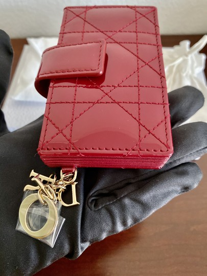 Dior BRAND NEW Lady Dior Card Holder with 5 pockets in Red Patent Leather Image 6