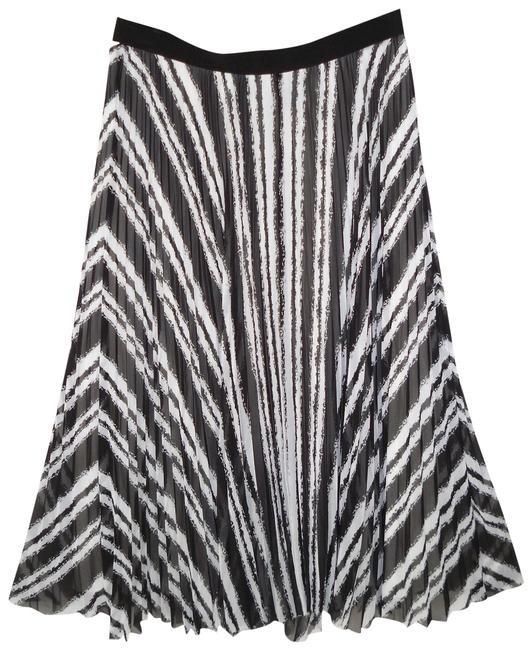 Ann Taylor Striped Pleated Raw Edge Skirt Image 0