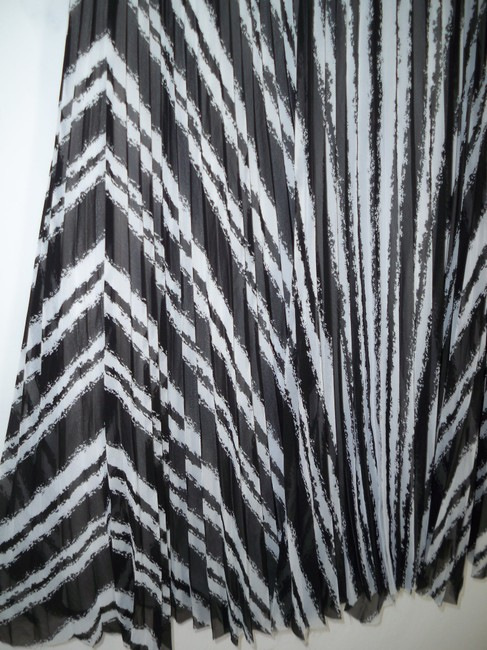 Ann Taylor Striped Pleated Raw Edge Skirt Image 2