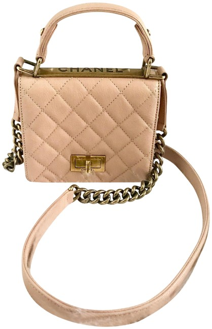 Chanel Classic Flap Crossbody Trendy Mini Quilted 2 Way Beige/Pink Leather Shoulder Bag Chanel Classic Flap Crossbody Trendy Mini Quilted 2 Way Beige/Pink Leather Shoulder Bag Image 1